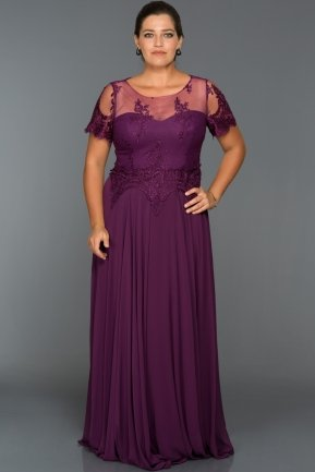 Long Plum Oversized Evening Dress AN5010