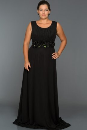 Long Black Oversized Evening Dress ABU334