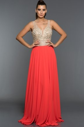 Long Coral Evening Dress F259