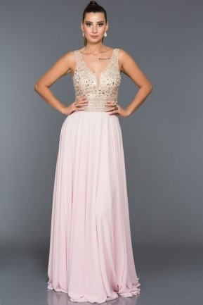 Long Pink Evening Dress F259