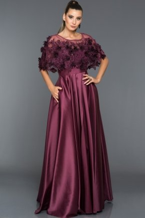 Long Plum Evening Dress S4376