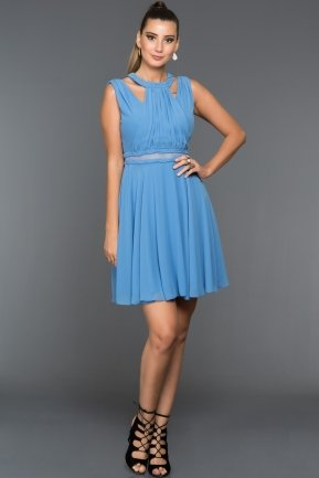 Short Blue Evening Dress F7156