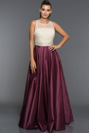 Long Plum Evening Dress S4388