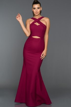 Long Plum Evening Dress W6007