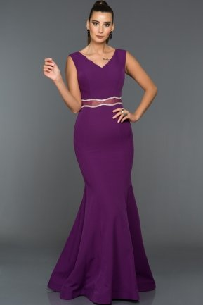 Long Purple Evening Dress W6047