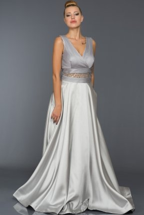Long Silver Evening Dress F4174