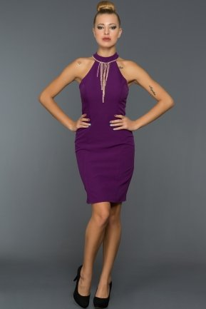 Short Purple Evening Dress DS287