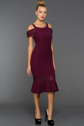 Short Plum Evening Dress DS400