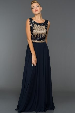 Long Navy Blue Evening Dress F228