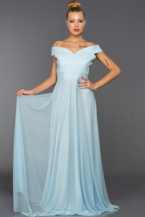 Long Ice Blue Evening Dress ABU020