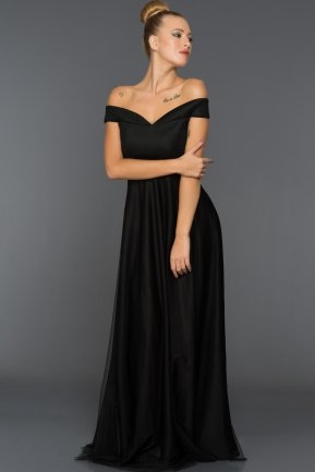 Long Black Evening Dress ABU020