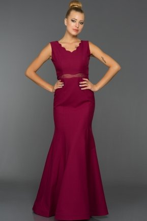 Long Plum Evening Dress W6001