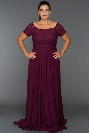 Long Plum Oversized Evening Dress T3071