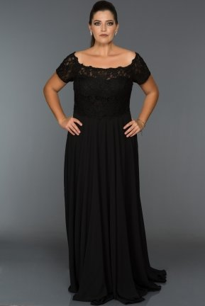 Long Black Oversized Evening Dress ABU040