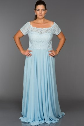 Long Light Blue Oversized Evening Dress ABU040