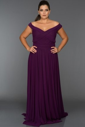 Purple Long Oversized Evening Dress AB1163
