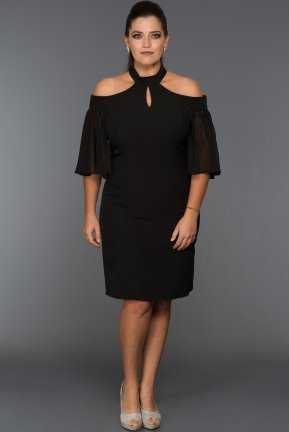Short Balck Oversized Evening Dress ABK059