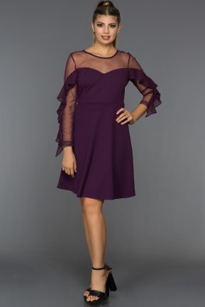 Short Purple Evening Dress AR36989