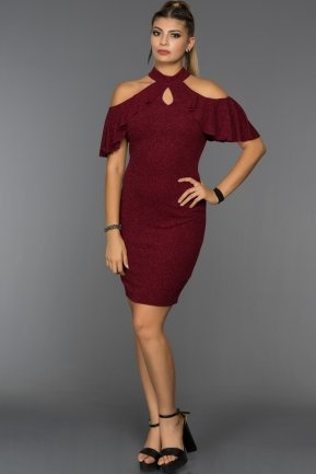 Short Burgundy Prom Dress C8106