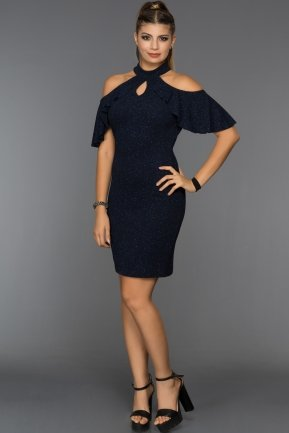 Short Navy Blue Prom Dress ABK338