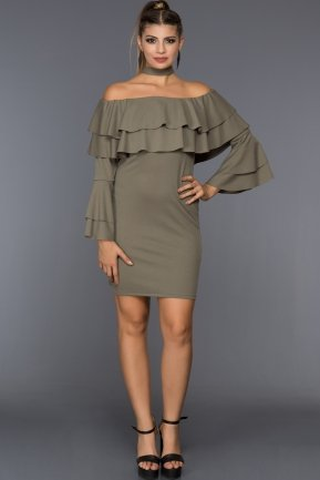 Short Olive Drab Evening Dress D9226