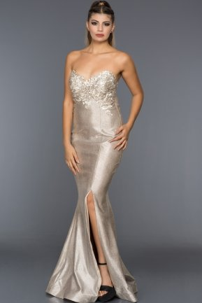 Long Mink Evening Dress F4352