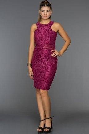 Short Fuchsia Evening Dress L8025