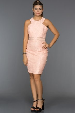Short Powder Color Evening Dress L8025