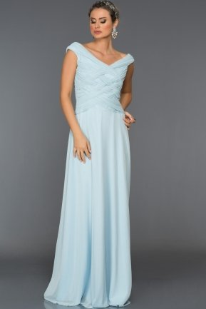 Long Ice Blue Evening Dress ABU048