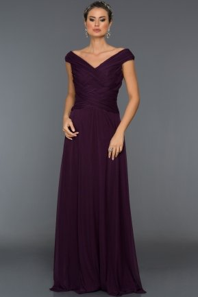 Long Violet Evening Dress C7158