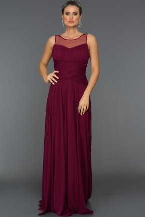Long Plum Evening Dress C7190