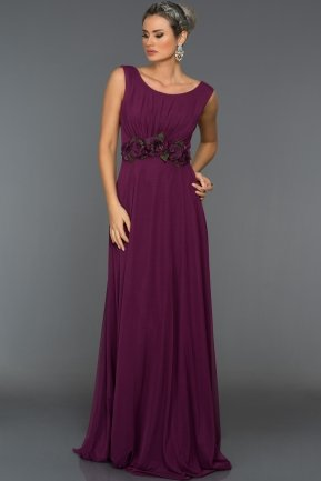 Long Violet Evening Dress C7216