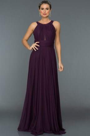 Long Violet Evening Dress C7275