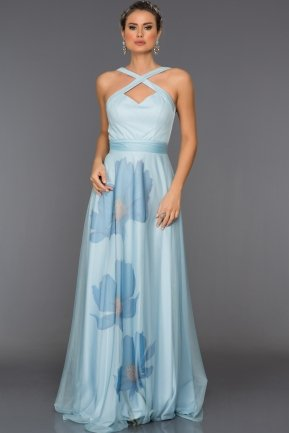 Long Light Blue Evening Dress C7282