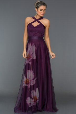 Long Violet Evening Dress ABU331