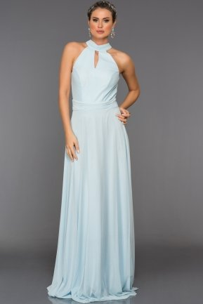 Long Ice Blue Evening Dress C7309
