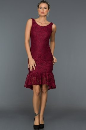 Short Plum Evening Dress DS395