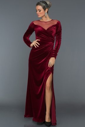 Long Burgundy Velvet Evening Dress ABU527