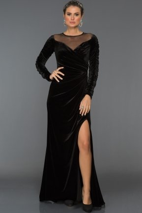 Long Black Velvet Evening Dress ABU527