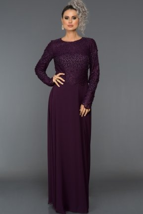 Long Plum Evening Dress ABU281