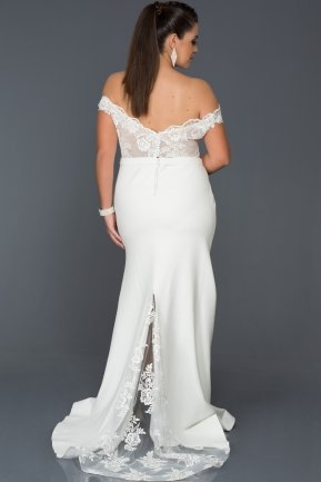 Long White Oversized Evening Dress AB2376