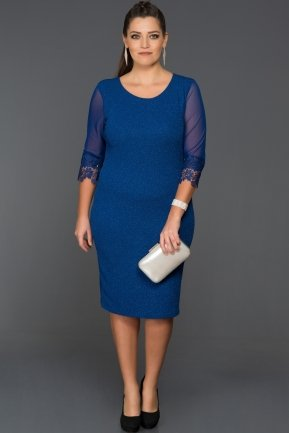 Short Sax Blue Oversized Evening Dress AR36747