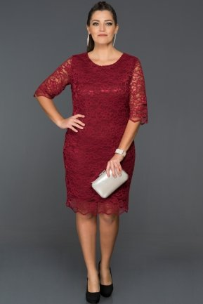 Short Burgundy Oversized Evening Dress AR38074
