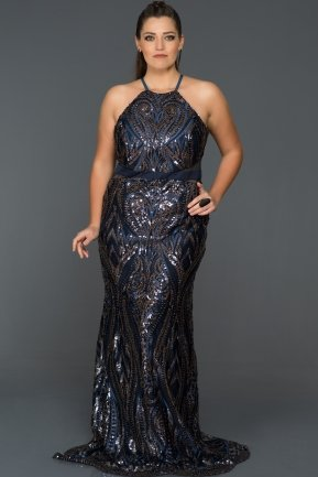 Long Navy Blue Oversized Evening Dress AB9199