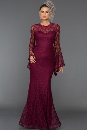 Long Plum Prom Dress L6040