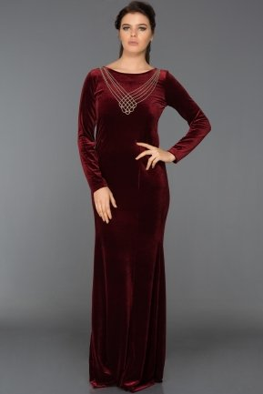 Long Burgundy Velvet Evening Dress ABU486