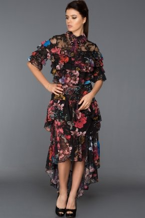 Front Short Back Long Flowers Evening Dress ABK286