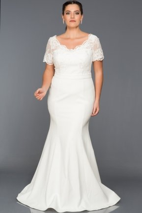 Long White Plus Size Dress AN2492