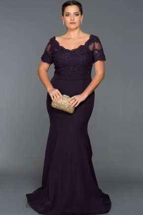 Long Dark Purple Plus Size Dress AN2492