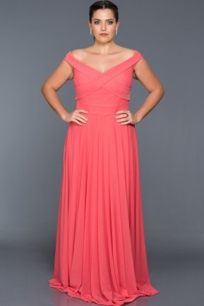 Long Coral Oversized Evening Dress AB1163